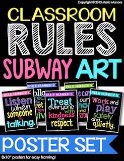 classroom rules subway art poster set for kindergarten classroom