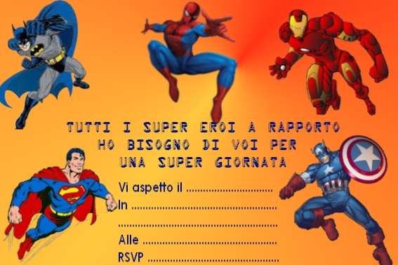 Superman, Batman, Spiderman, Ironman, Capitan America