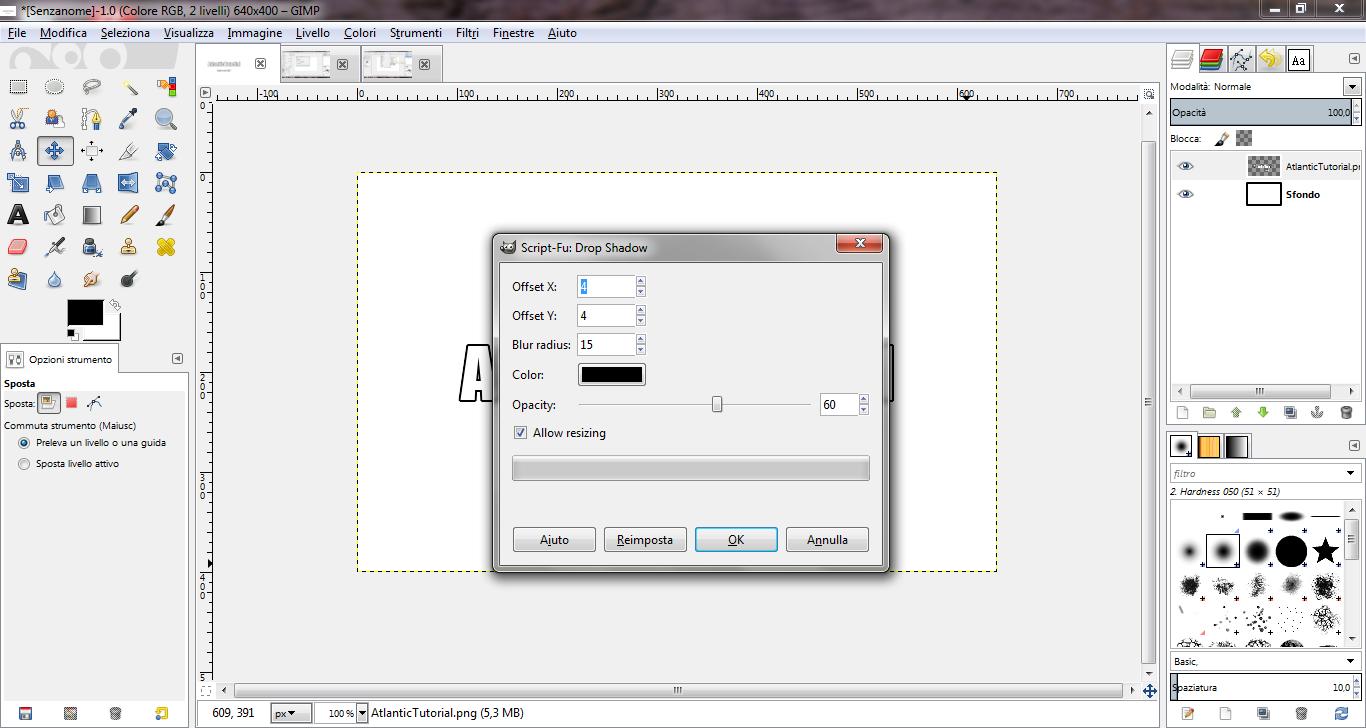 Creare ombre a testo e immagini con gimp atlantictutorial - Testo a finestra ...