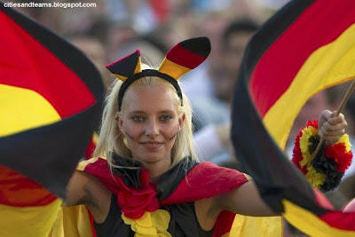 Beautiful German Girl Waves Germany Flags During The Match Against Portugal Euro 2012