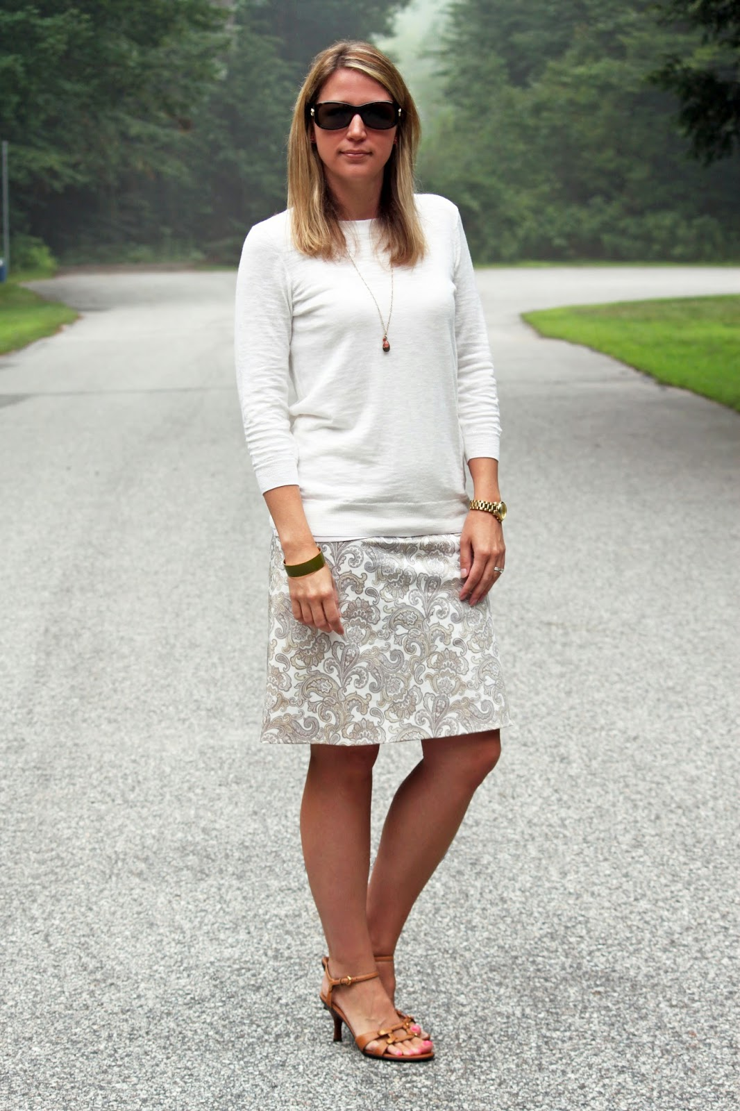 Paisley Pencil Skirt + Neutral Sweater // The Salty Hanger