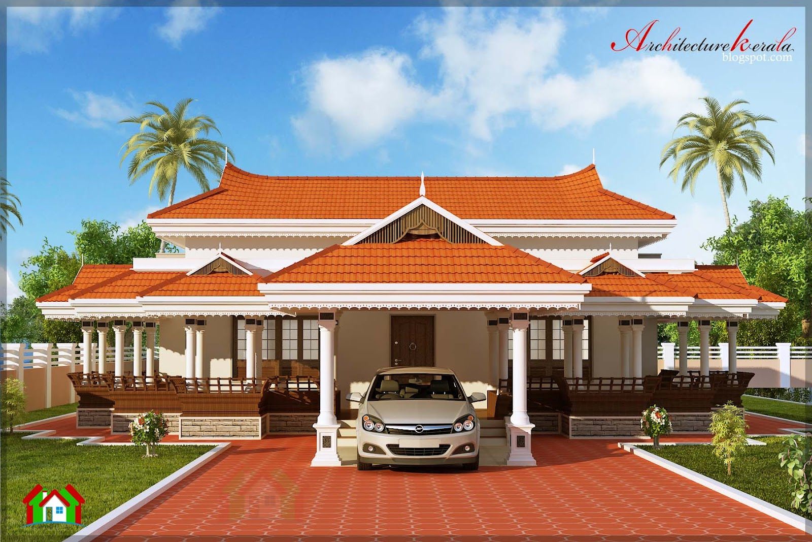 Architecture kerala 3 bhk in single floor house elevation for Traditional house plans kerala style