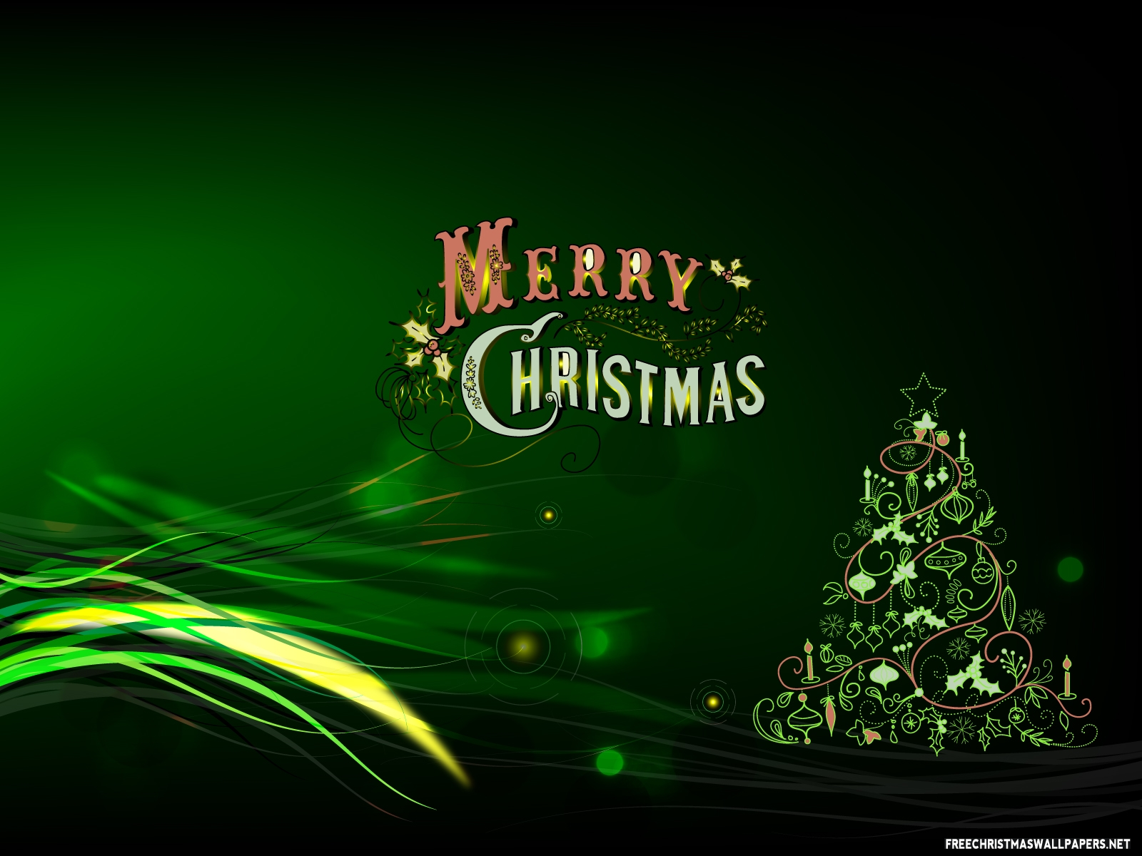 green merry christmas wallpaper