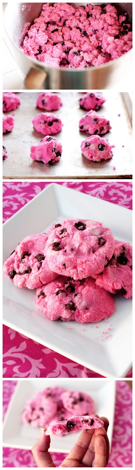 Pink Chocolate Chip Shortbread Cookies - kiss recipe