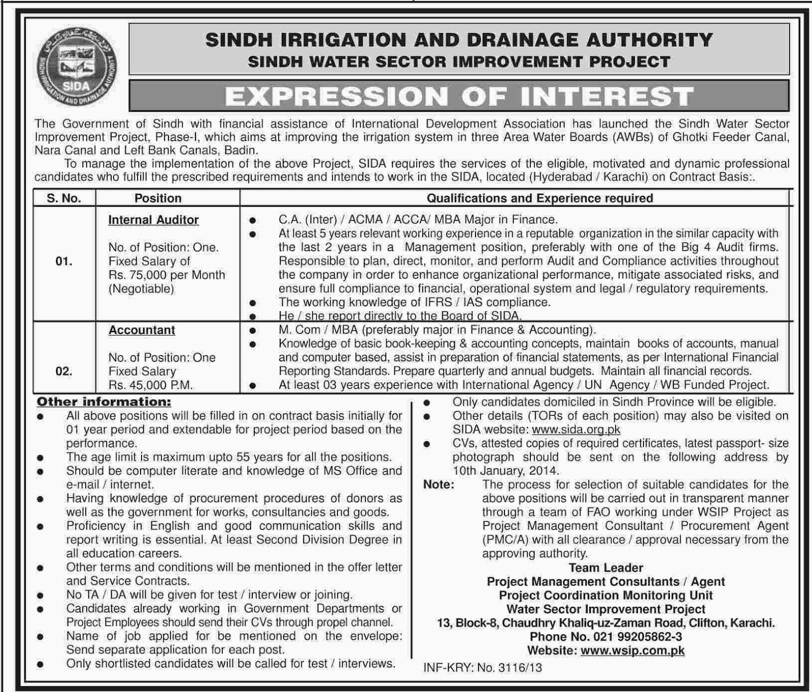 Auditor and Accountant Jobs in Sindh Irrigation & Drainage Authority, Karachi