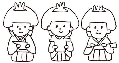 三人官女のイラスト(ひな祭り)線画