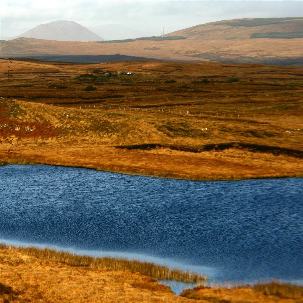 landscape image from Connemara with a lake and mountains at the back