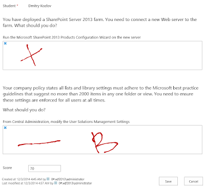 SharePoint questionnaire form with hand-written marks