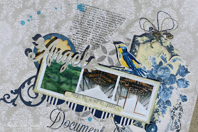 Angel Documented Mixed Media Scrapbook Page featuring Genevieve Collection and Celebrate Laser Chipboard by BoBunny designed by Rhonda Van Ginkel