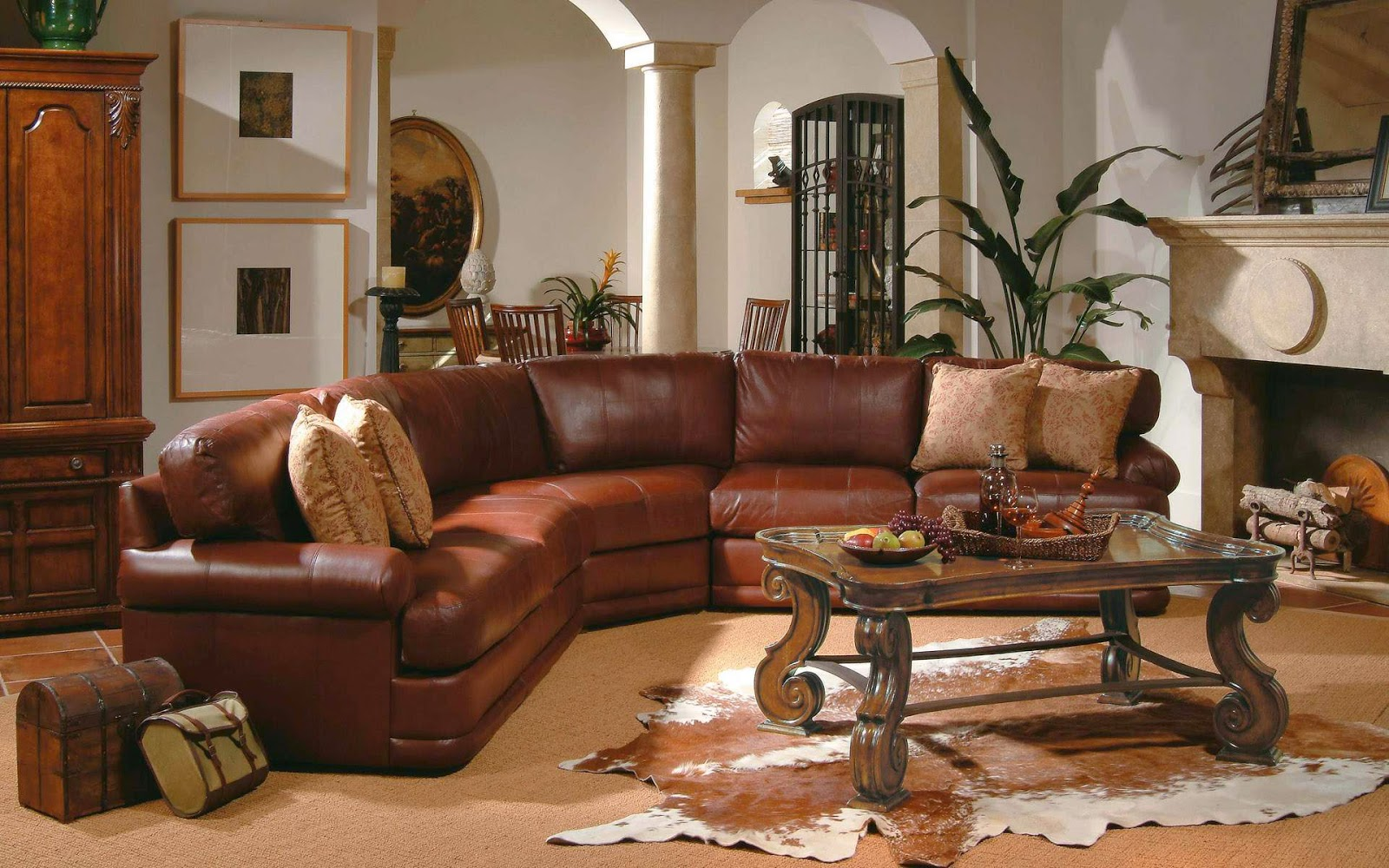 6 living room decor ideas with sectional home design hd for Brown leather living room decorating ideas