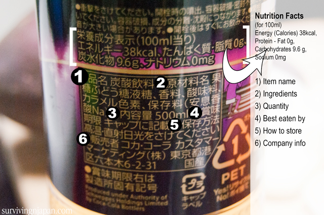 food label, nutrition facts, Japan, ginger ale, Japanese