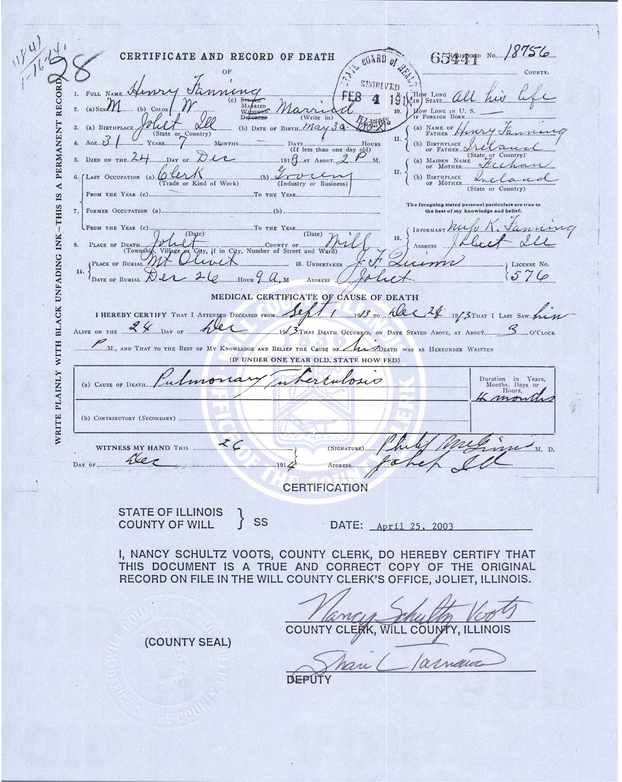 Joliet genealogy illinois death certificates 1877 1916 death certificate filed in will county illinois 01 may 1910 xflitez Choice Image