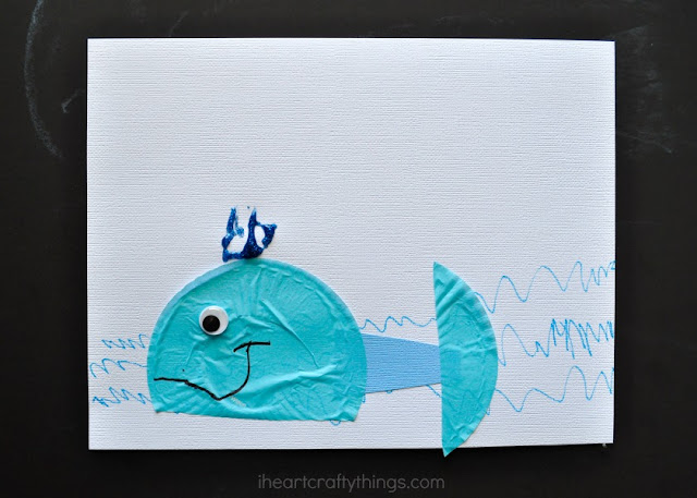 I heart crafty things cupcake liner whale craft for kids for Whale crafts for kids