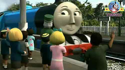 Dowager Hatt and a group of children waiting Thomas the train Gordon engine stop at Maron station