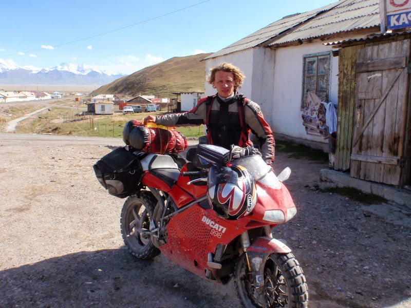 "Dutch adventure rider ""Peter"" in the Pamir Mountains on a Ducati 998"