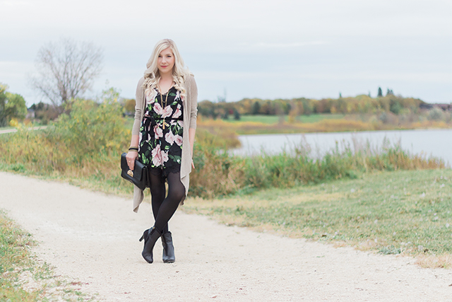 Floral romper for fall.  Inspiration from Pretty Little Details.