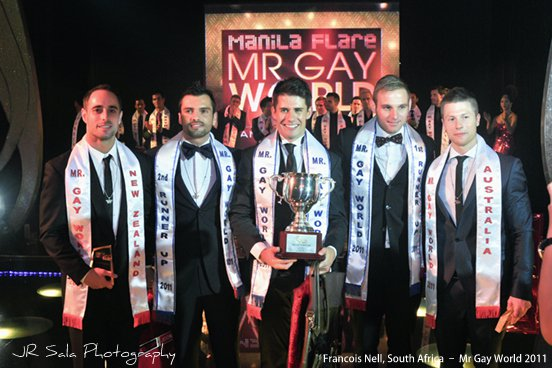 Here's the official results of the Mr. Gay World 2011 competition: