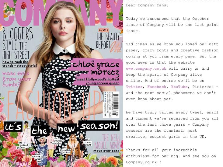 company magazine closes