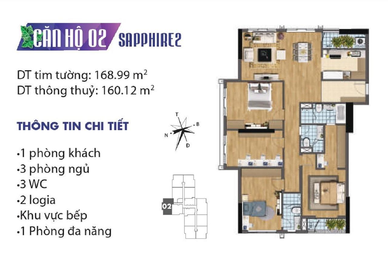 Mặt Bằng Chung Cư Goldmark City Tòa SapPhire 2