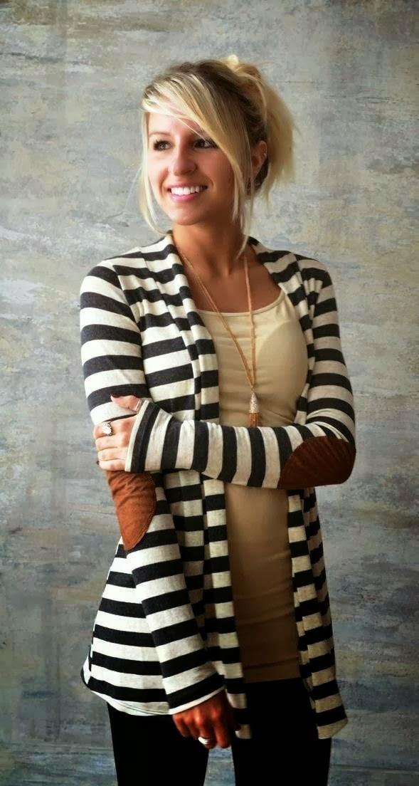 Elbow Patch Stripes Cardigan