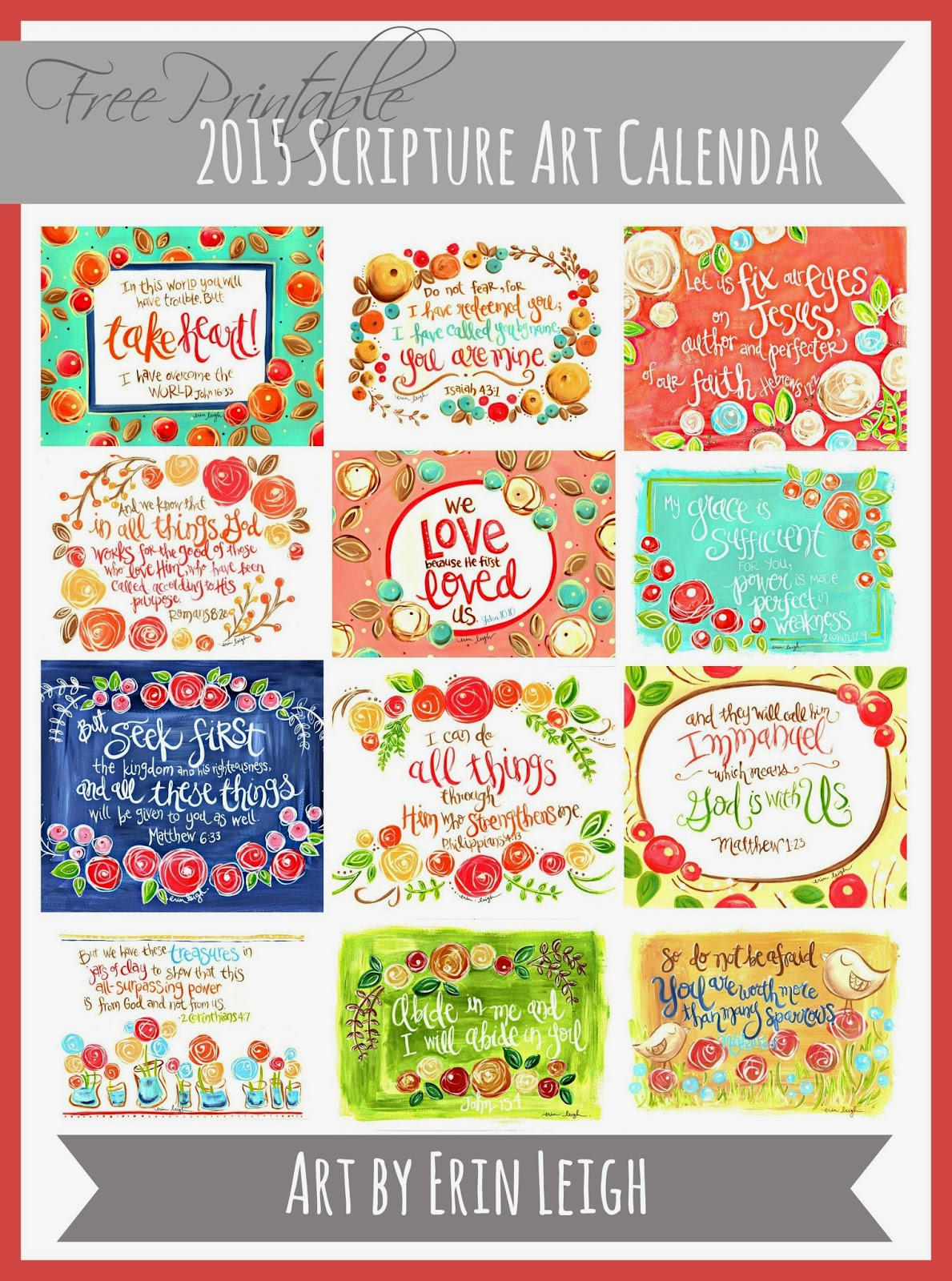 Calendar Artwork : Art by erin leigh free printable scripture