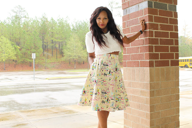 BYW :  The Print Skirt  -  Simplicity 1099