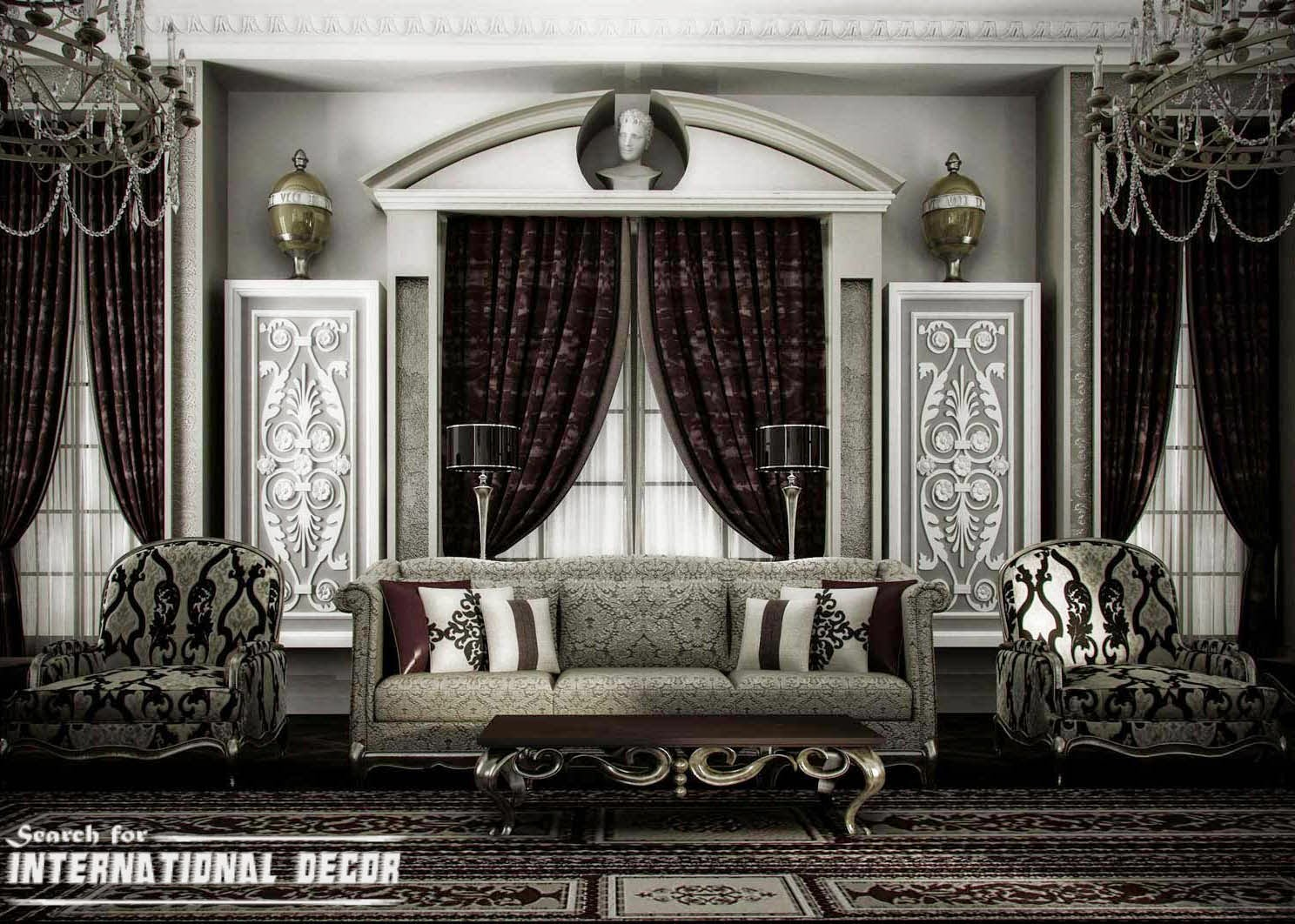 classic interior design, classic bedroom,black and white classic interior