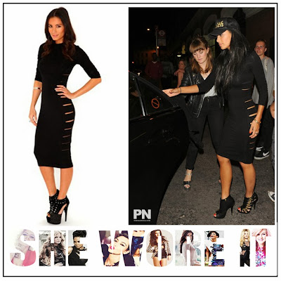 Black, Bodycon, Cut Out, Cut Out Detail, Dress, High Neck, London, Midi Dress, Missguided, Nicole Scherzinger, Razor, Round Neck,