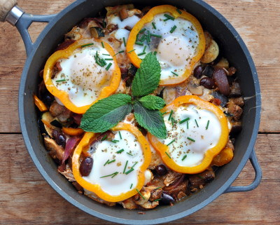 Baked Eggs with Ratatouille Vegetables @ AVeggieVenture.com ~ Vegetarian, Gluten-Free, Paleo ~ Weight Watchers PointsPlus 6