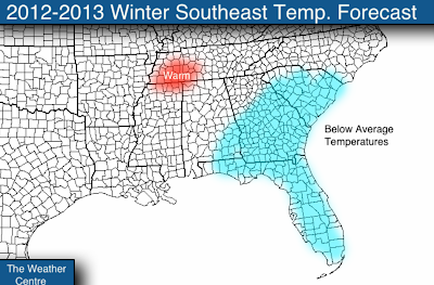 temperature forecast for the southeast is pretty tricky this winter