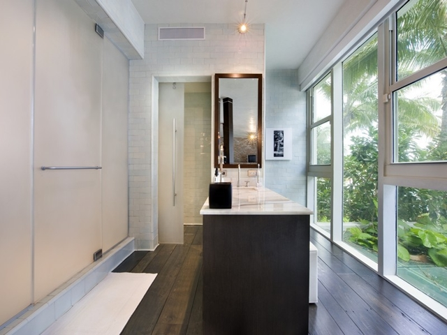 Modern bathroom with the view at South Pointe Modern Apartment, Miami Beach, Florida