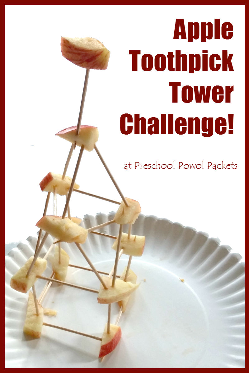 picture about Building With Toothpicks and Marshmallows Printable named Apple Toothpick Tower Issue! Preschool Powol Packets
