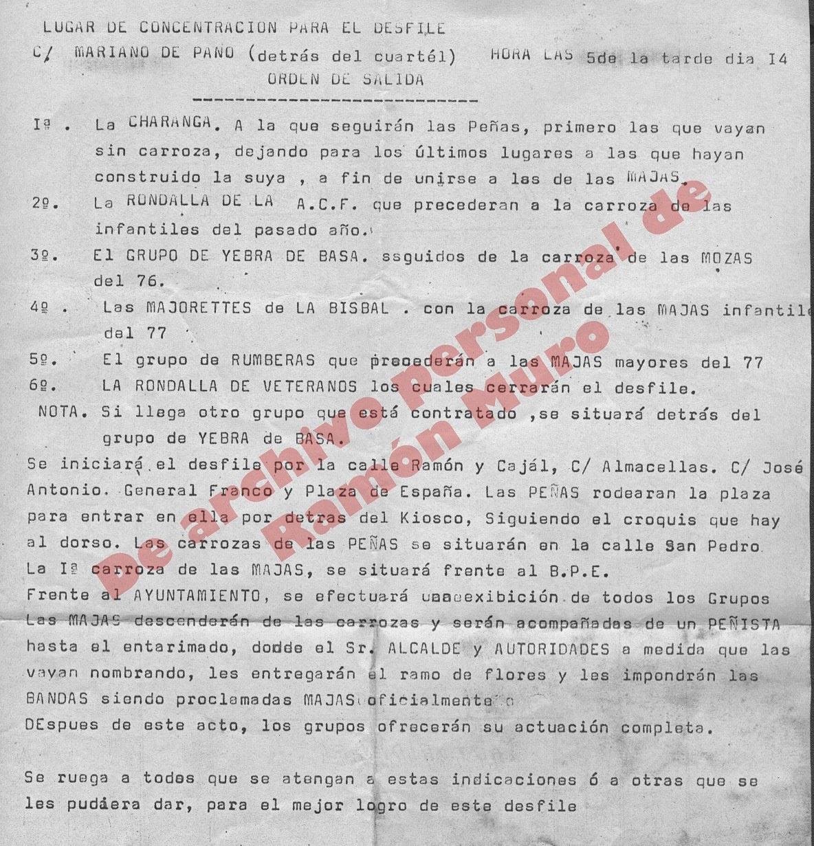 Orden Desfile Fiestas Mayores de Binéfar 1977