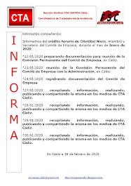 C.T.A. INFORMA CRÉDITO HORARIO CRISTOBAL NIETO, ENERO 2020