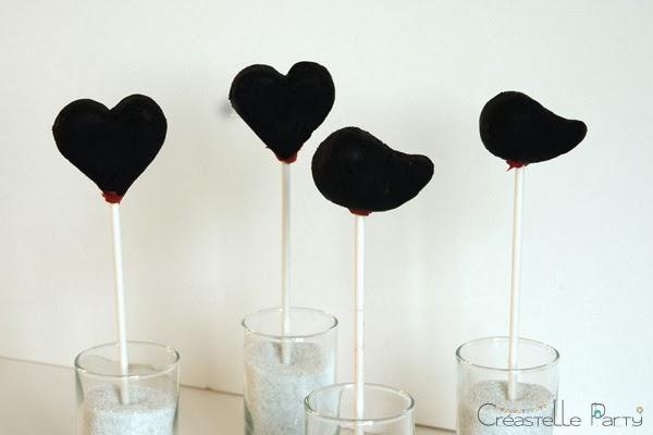 cake pop coeur / heart & love bird