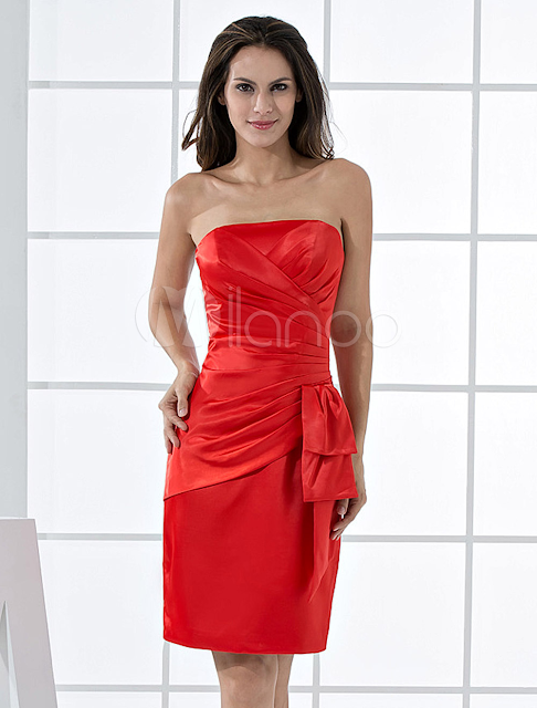 China Wholesale Homecoming Dresses - Fabulous Knee Length Wrapped Strapless Satin Cocktail Homecoming Dress