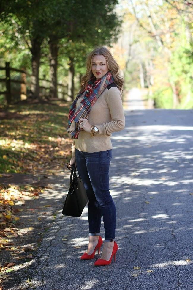 club monaco sweater, merona scarf, jcrew jeans, madewell heels, michael kors bag