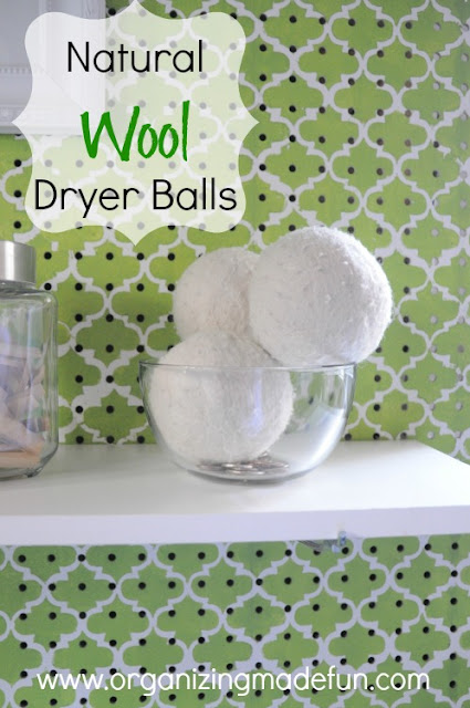 Natural Wool Dryer Balls to soften clothes | OrganizingMadeFun.com