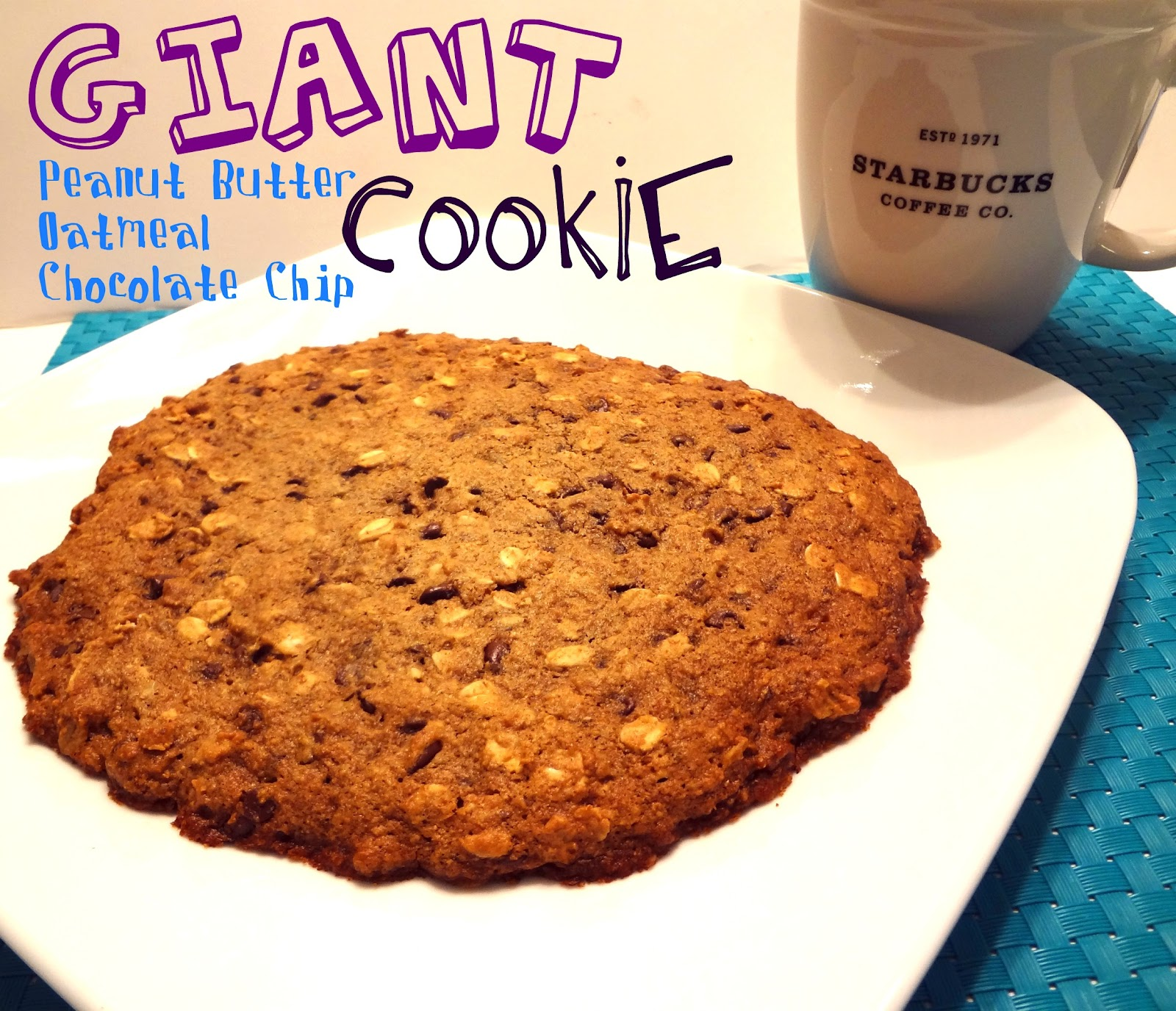 Giant (sort of healthy) Peanut Butter, Oatmeal & Chocolate Chip Cookie