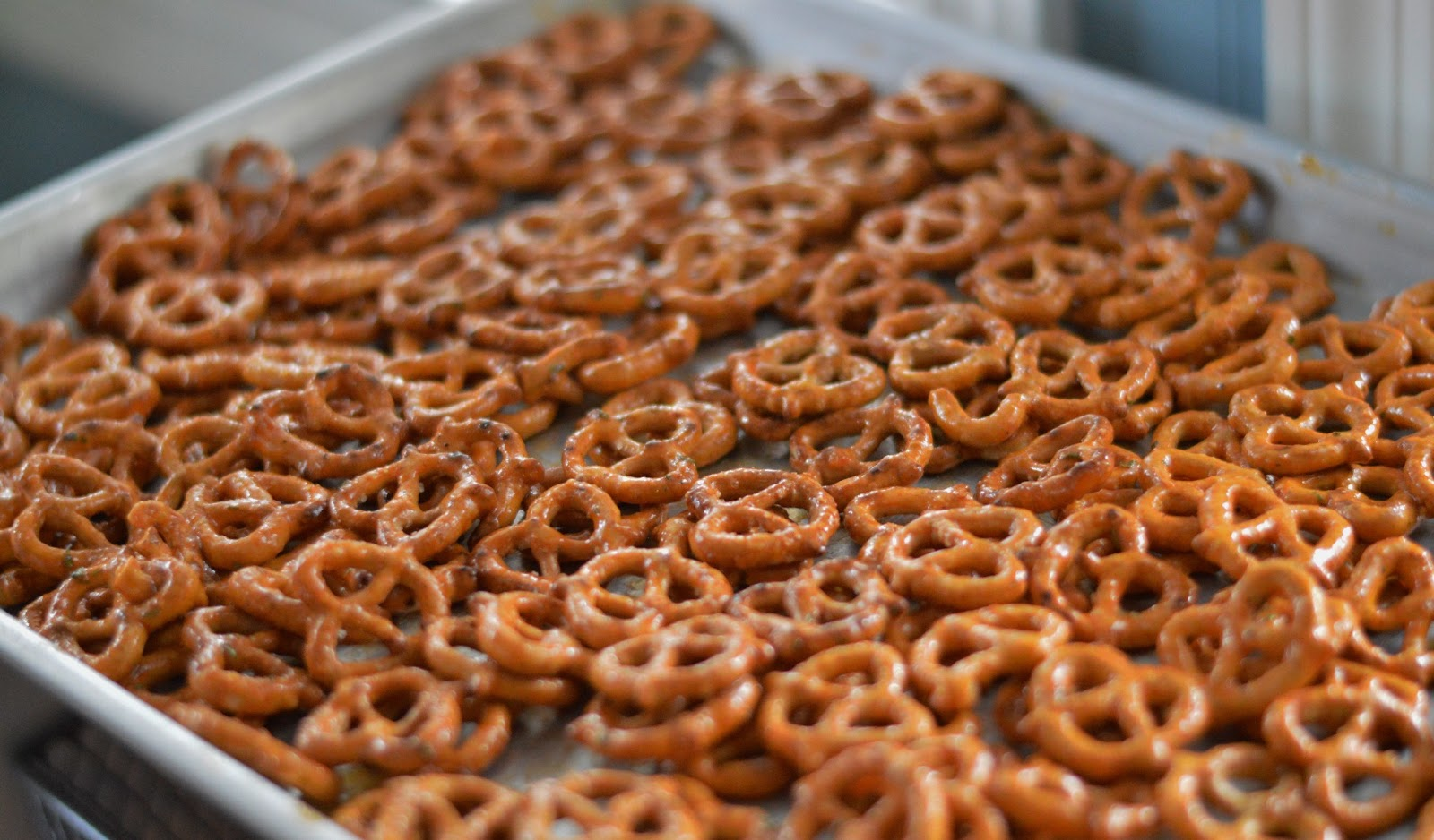 Spread the coated pretzels onto a baking sheet and bake for an hour ...
