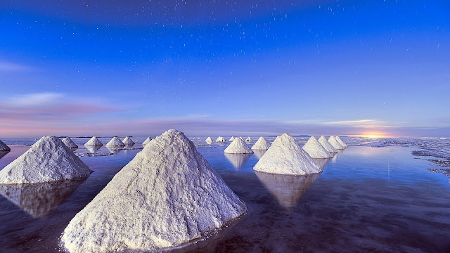 Piles of salt Dead Sea blue sky HD Wallpaper
