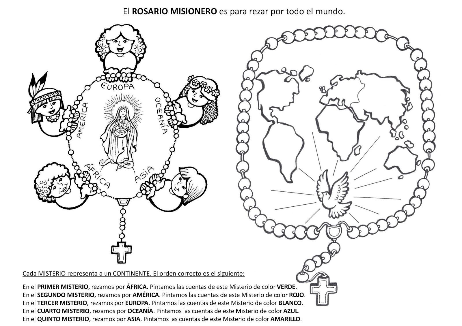 PARA COLOREAR: Rosario misionero para colorear
