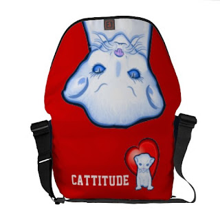 Cattitude - blue cat on red bag