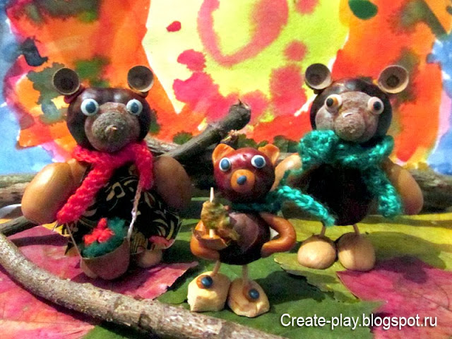 Три медведя из природных материалов