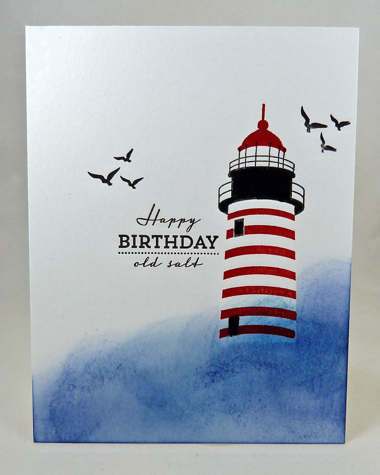 Cards by the sea a lighthouse and some birch trees i am entering this card at less is more 232 where the challenge is one layer masculine addicted to cas 67 where the code word is patriotic kristyandbryce Choice Image