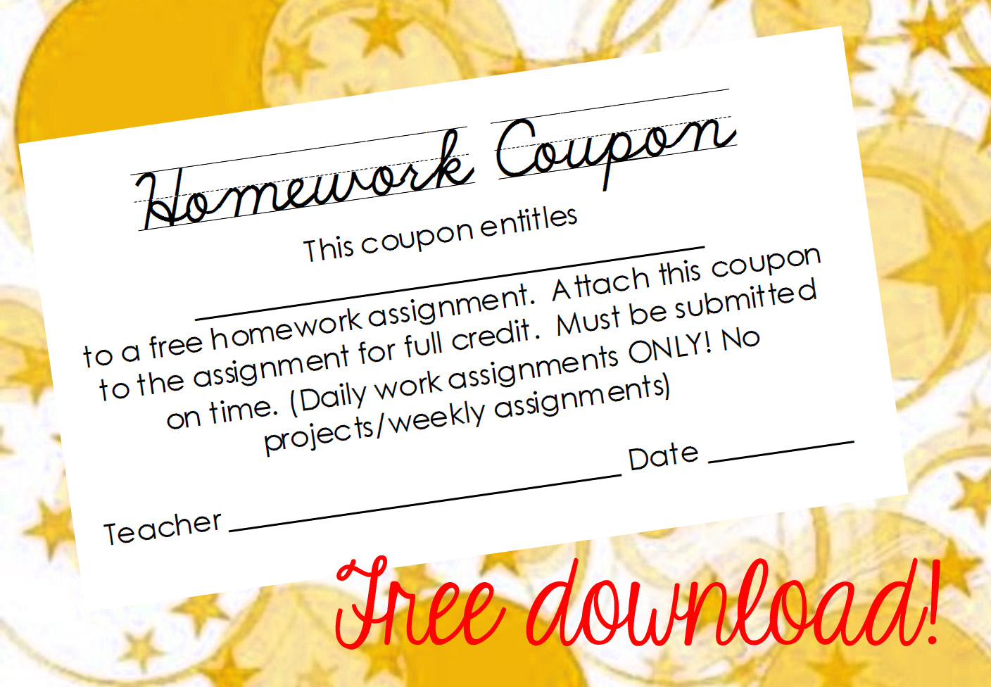 No homework coupons for kids