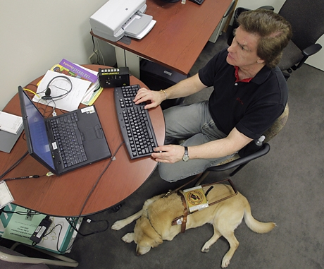 Man at laptop on cluttered desk with seeing eye dog on floor beside him