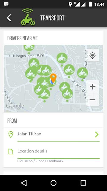 Tampilan Aplikasi Go-Jek.