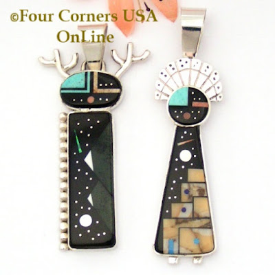 Starry Night Native American Kachina Dancer Pendants Navajo Artisan Calvin Desson NAP-1656 Four Corners USA OnLine Native American Jewelry
