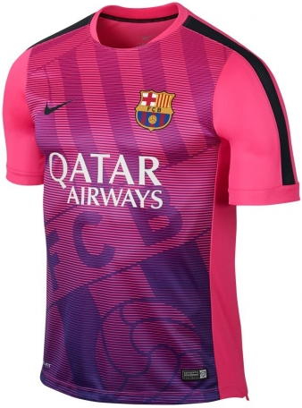 2014-2015 Barcelona Nike Pre-Match Training Jersey (Pink)